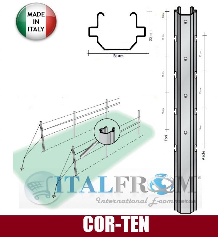 Conf 10 pz pali per vigneto aperti 52x35mm acciaio for Pali in plastica per vigneto