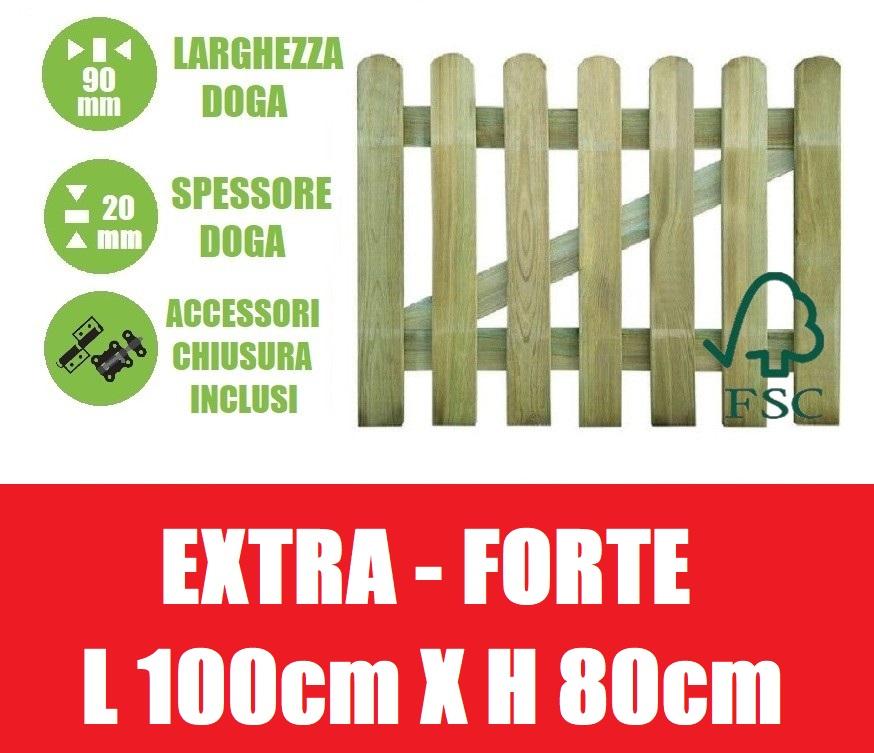 Cancelletto in legno di pino con doghe per steccato dimensioni l 100cm x h 80cm - Cancelletto in legno per esterno ...