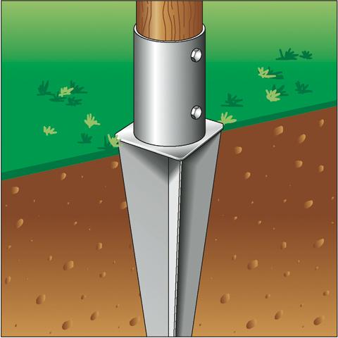 Supporto zincato di ancoraggio palo in legno 120 nel terreno for Poli arredamenti