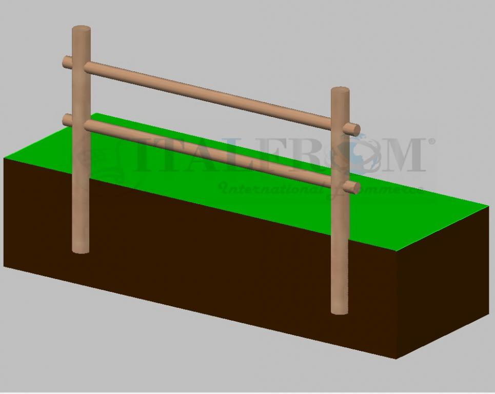 Staccionata steccato in legno di pino con 2 fori misure for Poli arredamenti
