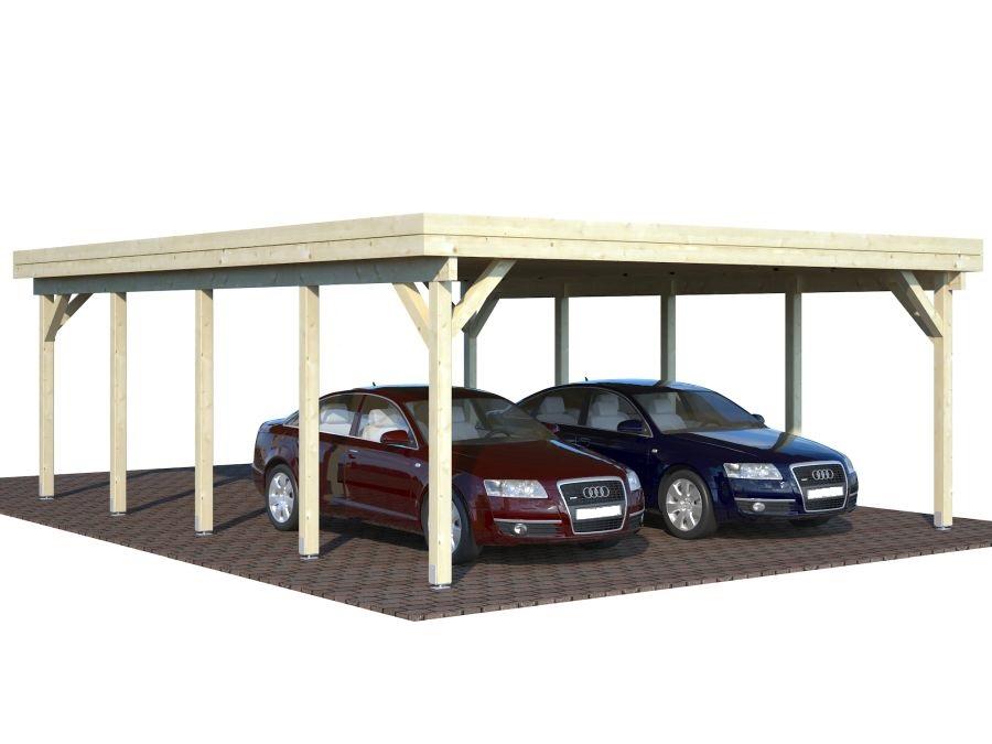Tettoia carport in legno lamellare d 39 abete nordico cm for Poli arredamenti