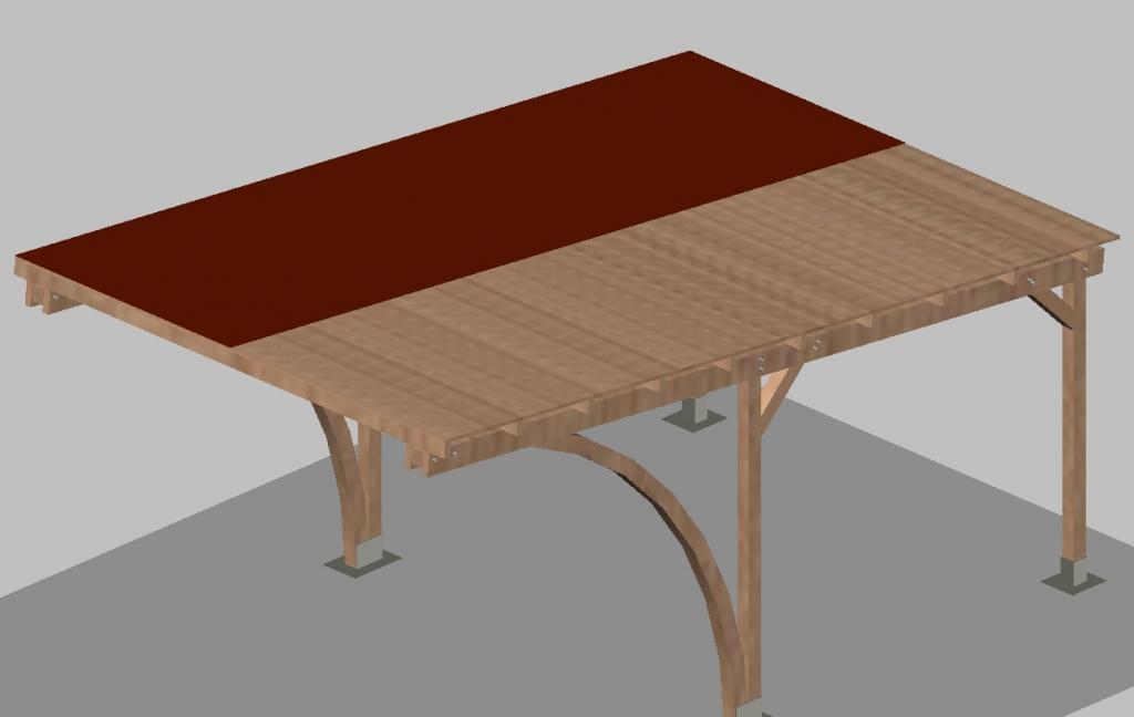 Carport tettoia per auto in legno di pino impregnato mt for Poli arredamenti