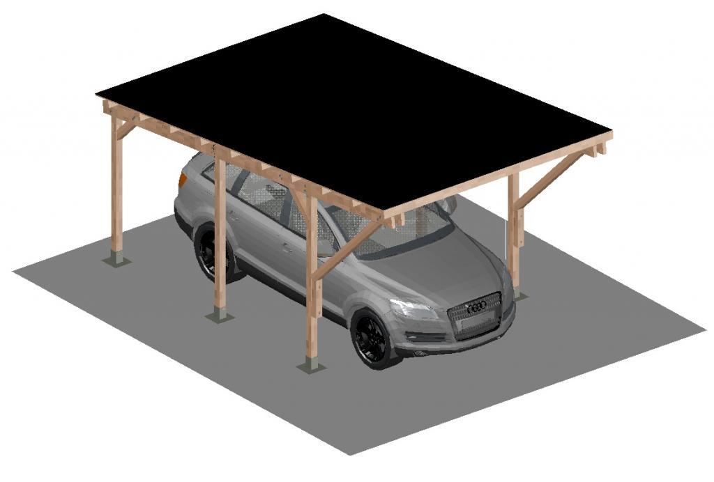 Carport Tettoia A Sbalzo Per Auto In Legno Completo Di