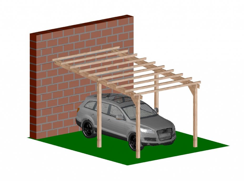 Carport tettoia addossata per auto in legno di pino for Poli arredamenti
