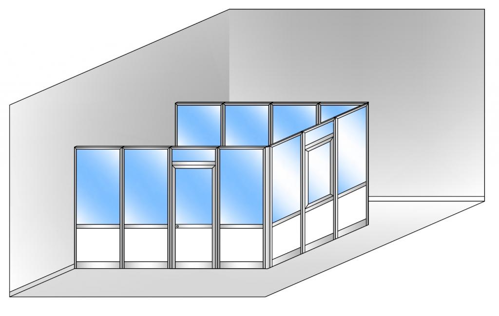 Box modulare 3 lati in alluminio vetro trasparente e for Poli arredamenti
