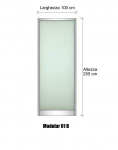 Modulo parete divisoria in alluminio e vetro satinato h2550xl1000 mm italfrom - Parete in vetro satinato ...