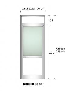Modulo parete con porta in alluminio con vetro satinato e bachelite h2550xl1000 mm italfrom - Parete in vetro satinato ...