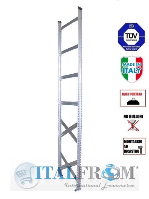 Spalla per scaffalature metalliche completa di diagonali , distanziali e basi Alta 300 cm Prof ...