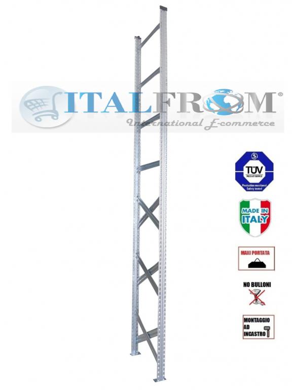 Spalla per scaffalature metalliche completa di diagonali , distanziali e basi Alta 350 cm Prof ...