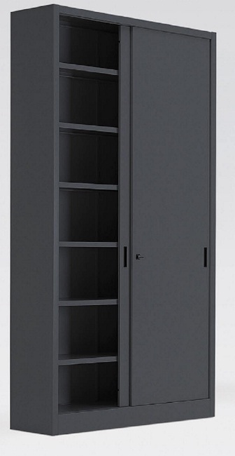 Armadio metallico con porte in lamiera scorr 5 10 ripiani for Armadio con ripiani