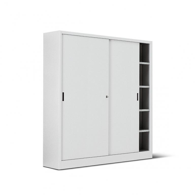 Armadio metallico con porta in lamiera 4 8 ripiani 180x60x200h for Armadio con ripiani