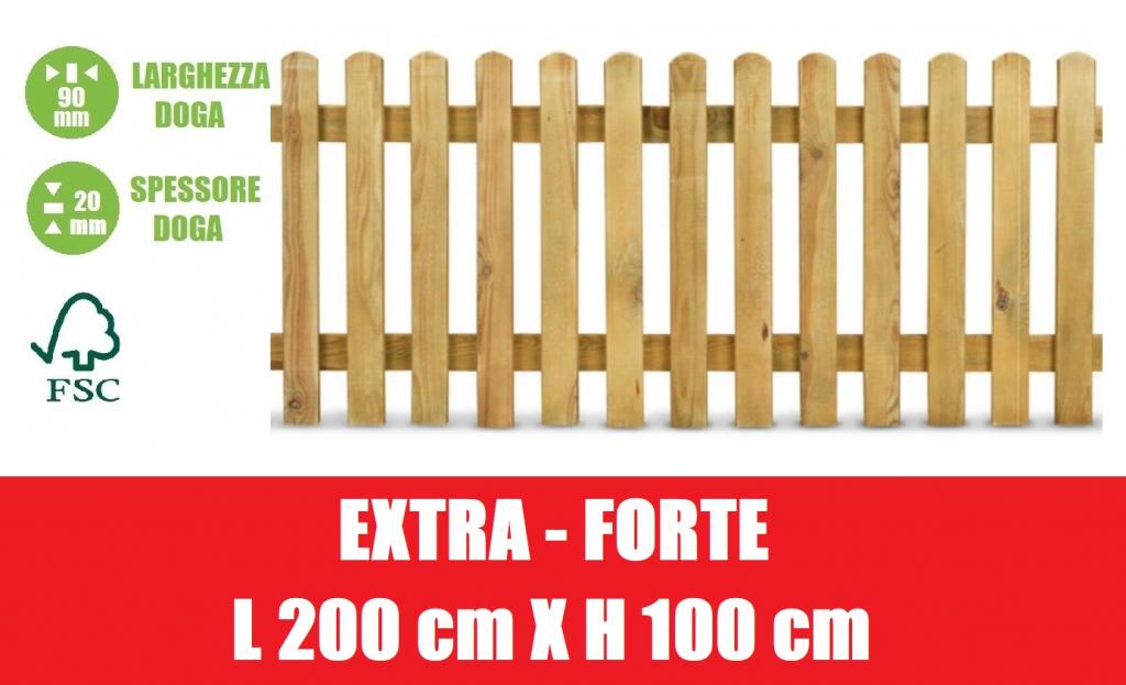 STACCIONATA IN LEGNO DI PINO CON DOGHE - DIMESIONI: L 200cm x H 100cm