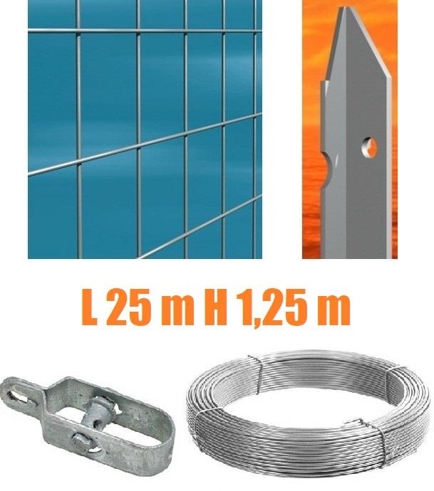 RECINZIONE COMPLETA 25mt LINEARI RETE METALLICA ZINCATA (RETE h100 cm) (MAGLIA:mm75X50) CON ...