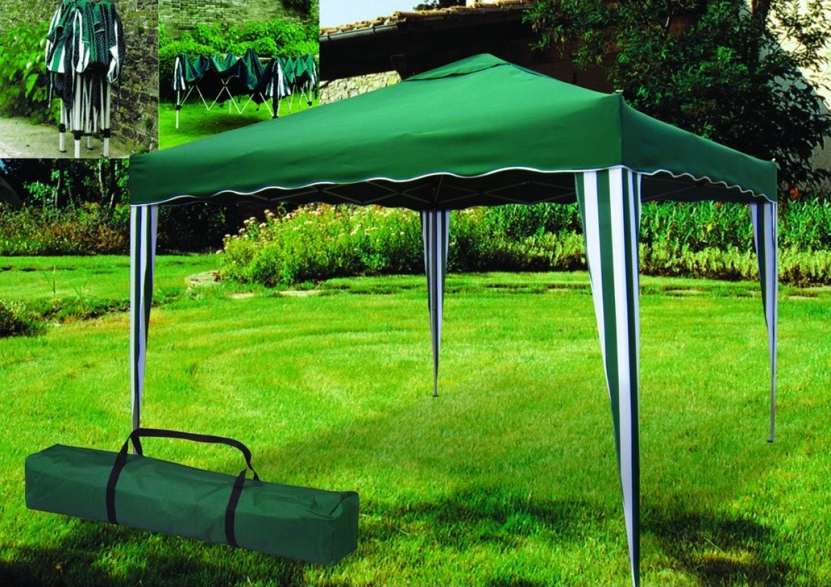 gazebo da giardino telescopico verde in metallo con sacca cm 300x300cm italfromgiard101. Black Bedroom Furniture Sets. Home Design Ideas