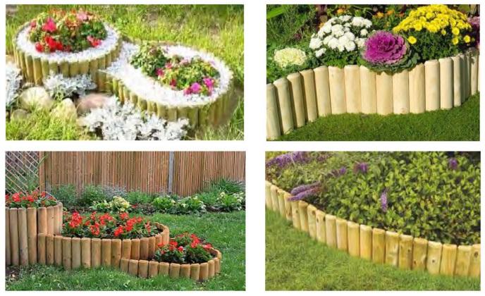 Bordura in rotolo per aiuole giardino in legno di pino nordico diametro 5 cm h40cm l250cm - Bordure giardino fai da te ...