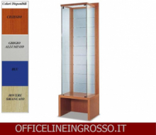 VETRINA IN CRISTALLO TEMPERATO(H.218) SCHIENALE DOGATO IN VETRO SATINATO E PANCA dim.(64X46X h218)SERIE GLASS  MADE IN ITALY
