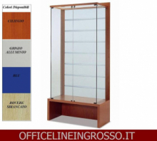VETRINA IN CRISTALLO TEMPERATO(H.218) SCHIENALE DOGATO IN VETRO SATINATO E PANCA dim.(120X46X h218)SERIE GLASS  MADE IN ITALY