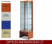 VETRINA IN CRISTALLO TEMPERATO(H.218) CON SCHENALE A SPECCHIO dimensioni(64X46X h218)SERIE GLASS  MADE IN ITALY
