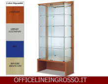 VETRINA IN CRISTALLO TEMPERATO(H.218) CON SCHENALE A SPECCHIO dimensioni(104X46X h218)SERIE GLASS  MADE IN ITALY