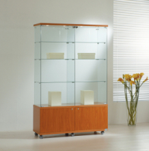 Vetrina Cristalli Temperati con Mobile e Faretti 117x40x181cm LL OF1218LM Made in Italy
