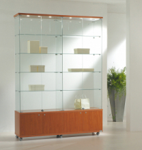 Vetrina Cristalli Temperati con Mobile e Faretti 157x40x220cm LL OF1622M Made in Italy